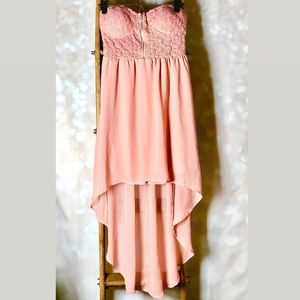 Poetry Pink Strapless Lace Hi-Lo Dress